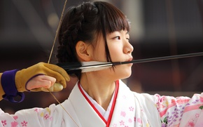 Picture girl, Archer, Japanese, aiming