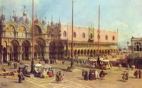 Picture picture, painting, painting, Antonio Canaletto, Piazza San Marco