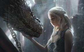 Picture girl, fantasy, art, dragon, Game of Thrones, Emilia Clarke, Daenerys Targaryen, film, artwork, actress, fantasy …