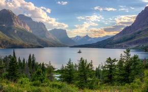 Picture the sky, trees, mountains, lake, island, USA, glacier national park, montana, lake mary