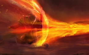 Wallpaper flame, art, fire, warrior, shield, jet, sword, skull, protection, armor