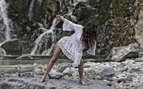 Picture girl, stones, dance, mountain river