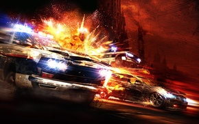 Wallpaper the explosion, police, Chase