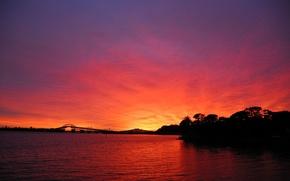 Picture red, morning, sun, dawn, Sunrise, radioactive