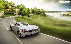 Picture road, trees, house, background, Top Gear, supercar, Pagani, rear view, the best TV show, top …