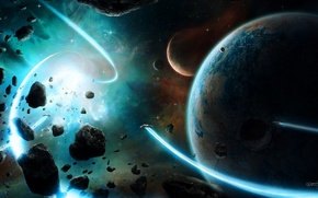 Picture stars, planets, spaceships, attraction