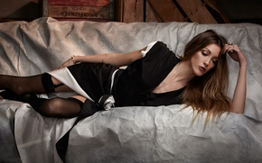 Picture girl, stockings, dress, actress, lies, brown hair, Katie Cassidy, Katie Cassidy