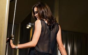 Picture brunette, back, manja Dobrilovic, translucent fabric