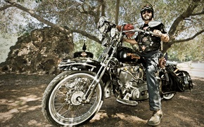 Picture style, biker, motorcycle, Harley-Davidson