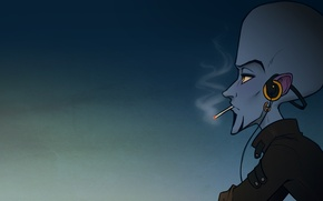 Picture blue, figure, headphones, cigarette, megamind, Weiss, fanfic