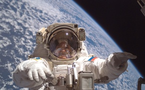 Picture astronaut, in orbit, earth from space, open space