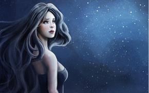 Wallpaper girl, the dark background, hair, art, sparks, profile, SenRyuji