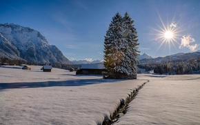 Wallpaper Germany, snow, mountains, winter, home, trees, Bayern