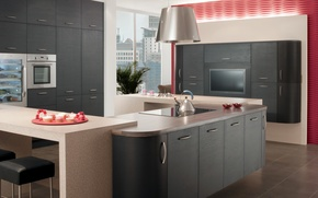 Picture design, the city, style, interior, kitchen, living room, city apartment