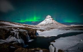 Picture winter, snow, night, rocks, mountain, waterfall, Northern lights, the volcano, Iceland, Kirkjufell, January