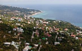 Picture the city, photo, coast, home, top, Crimea, Yalta