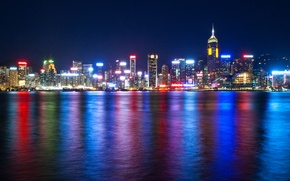Picture sea, night, lights, Hong Kong, skyscrapers, backlight, China, megapolis, Victoria Harbour