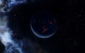 Picture rendering, background, planet, stars