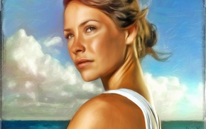 Picture sea, figure, portrait, art, Lost, Evangeline Lilly, To stay alive, Evangeline Lilly, Kate Austen