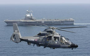 """Wallpaper helicopter, Dauphin, """"Clemenceau"""", AS 365, French, Eurocopter, multipurpose, the ocean, the carrier"""