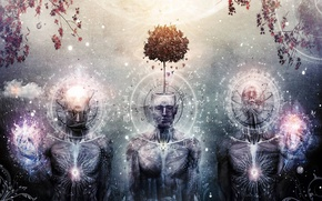 Wallpaper tree, three, art, spirituality, cameron gray, third eye