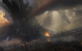 Picture the explosion, the city, future, fiction, art, sci-fi