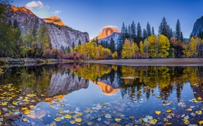 Picture autumn, forest, the sky, clouds, trees, mountains, reflection, river, blue, foliage, day, CA, USA, Yosemite, ...