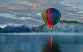 Wallpaper balloon, hill, mountains, fog, lake, extreme sport, clouds, morning, sunrise