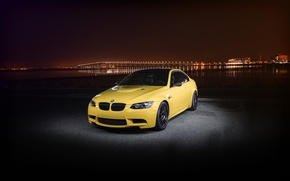 Picture night, the city, lights, yellow, bmw, BMW, yellow, e92
