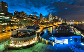 Picture night, skyscrapers, channel, USA, America, megapolis, Seattle, Houses, Rivers