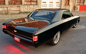 Picture Chevrolet, black, Chevelle, The Sickness, back side, colorous