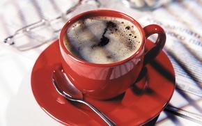 Wallpaper background, red, coffee, food, spoon, sweet, Cup. mug