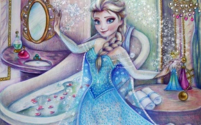 Picture girl, figure, dress, Frozen, Disney, art, Elsa, Cold heart