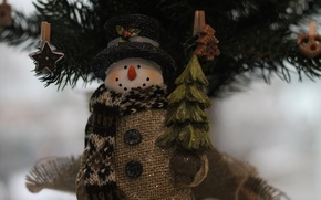 Picture snowman, Christmas, tree