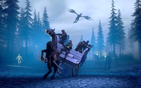 Picture forest, weapons, dragon, horse, spruce, zombies, rider, cart, special forces, counter-strike, global offensive, cs go