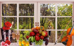 Picture autumn, window, Still life, cover, fruit background