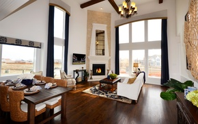 Picture design, style, interior, villa, fireplace, dining, living space