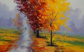 Picture autumn, landscape, Park, picture, alley