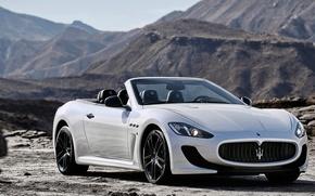 Wallpaper Car, Mountains, 2014, Maserati, GranCabrio, Convertible, White, Grand, White, Maserati, Car