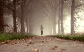 Picture grass, leaves, girl, trees, fog, Park, the way, walking