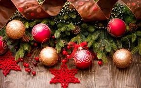Picture New Year, brown, winter, tree, toys, New Year, Christmas, gold, branches, the scenery, balls, spruce, ...