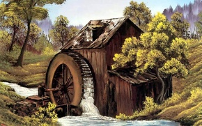 Picture water, river, stream, tree, the building, picture, wheel, mill, painting, Bob Ross, the old mill