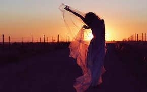 Picture road, girl, sunset, mood