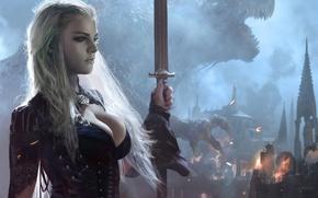 Picture fantasy, Girl, monster, sword, warrior, art