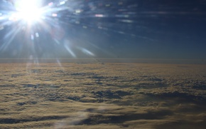 Picture the sky, the sun, clouds, flight, landscape, nature, the plane