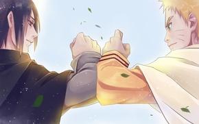 Picture friends, naruto, art, Uchiha Sasuke, Uzumaki Naruto, nanadaime hokage, by Tibet-Omega-cat