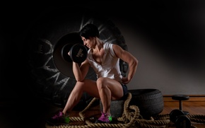 Picture pose, workout, dumbbell, brunette, model, fitness