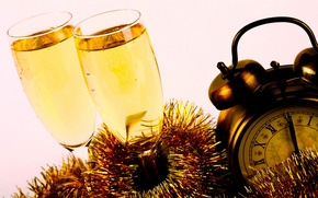 Picture gold, holiday, watch, glasses, New year, champagne, 2014