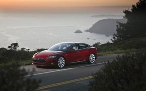 Picture road, the sky, red, sedan, the front, Tesla, Tesla, Model, pobereje, Model S, electric