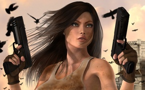 Wallpaper look, birds, guns, the city, Girl